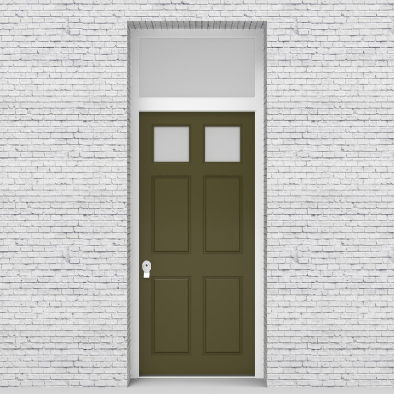 12.single Door With Transom Victorian 6 Panel With 2 Glass Panes Reed Green (ral6013)