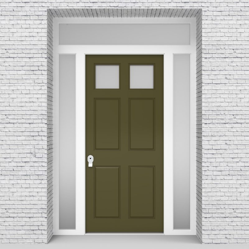 12.single Door With Two Side Panels And Transom Victorian 6 Panel With 2 Glass Reed Green (ral6013)