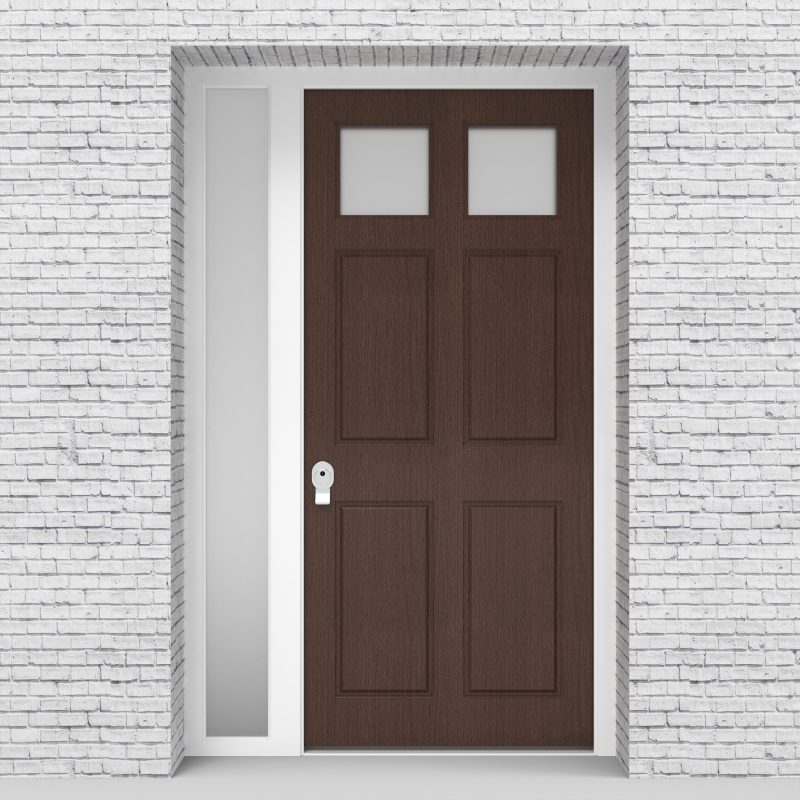 2.single Door With Left Side Panel Victorian 6 Panel With 2 Glass Panes Dark Oak