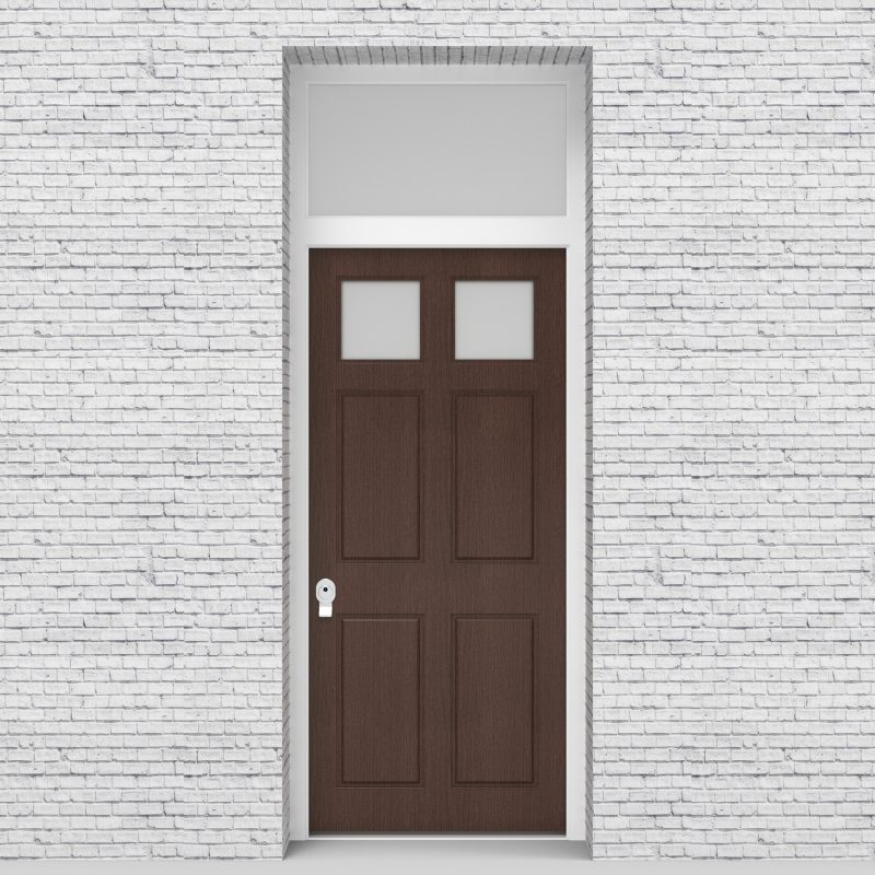 2.single Door With Transom Victorian 6 Panel With 2 Glass Panes Dark Oak