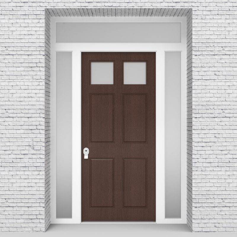 2.single Door With Two Side Panels And Transom Victorian 6 Panel With 2 Glass Panes Dark Oak