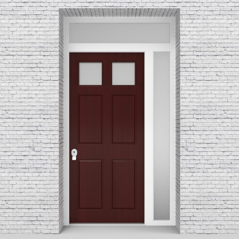 3.single Door With Right Side Panel And Transom Victorian 6 Panel With 2 Glass Panes Mahogany