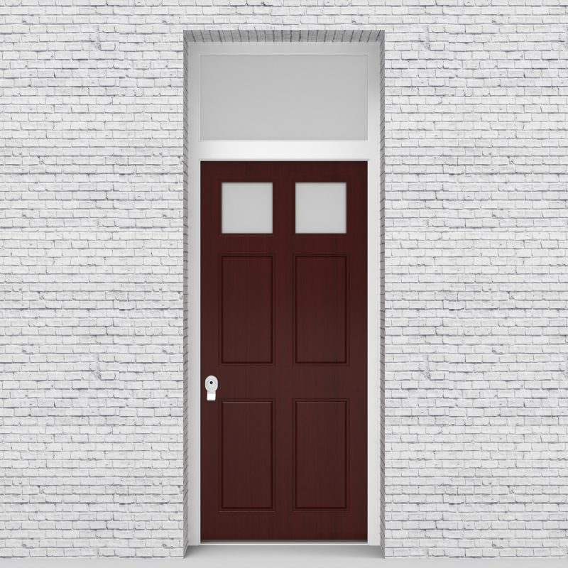 3.single Door With Transom Victorian 6 Panel With 2 Glass Panes Mahogany