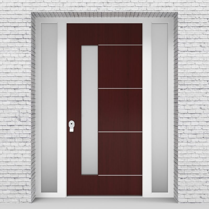 3.single Door With Two Side Panels 4 Aluminium Inlays With Lock Side Glass Mahogany