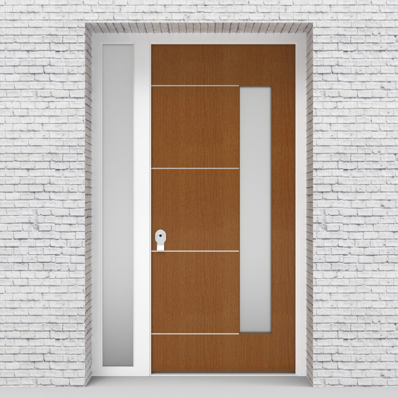 4.single Door With Left Side Panel 4 Aluminium Inlays With Hinge Side Glass Glass Oak