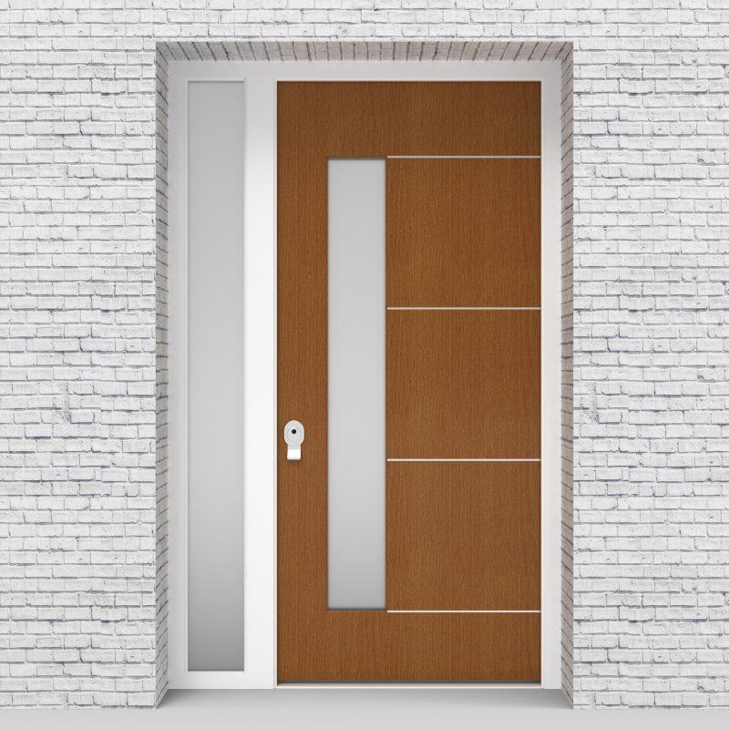 4.single Door With Left Side Panel 4 Aluminium Inlays With Lock Side Glass Oak