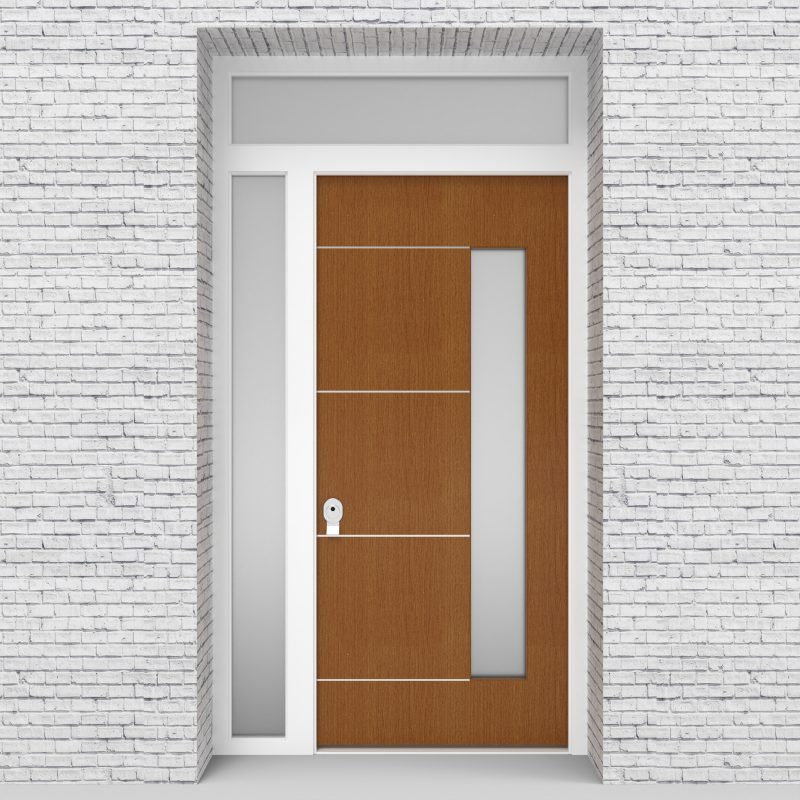 4.single Door With Left Side Panel And Transom 4 Aluminium Inlays With Hinge Side Glass Oak