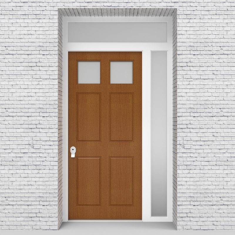 4.single Door With Right Side Panel And Transom Victorian 6 Panel With 2 Glass Panes Oak