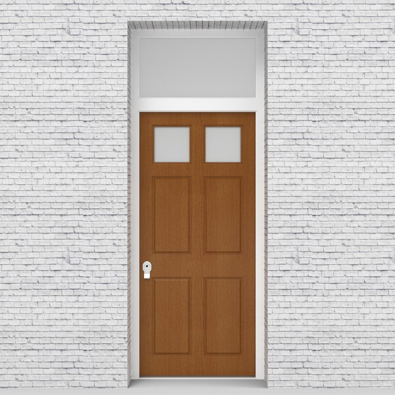 4.single Door With Transom Victorian 6 Panel With 2 Glass Panes Oak