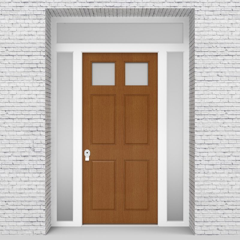 4.single Door With Two Side Panels And Transom Victorian 6 Panel With 2 Glass Panes Oak