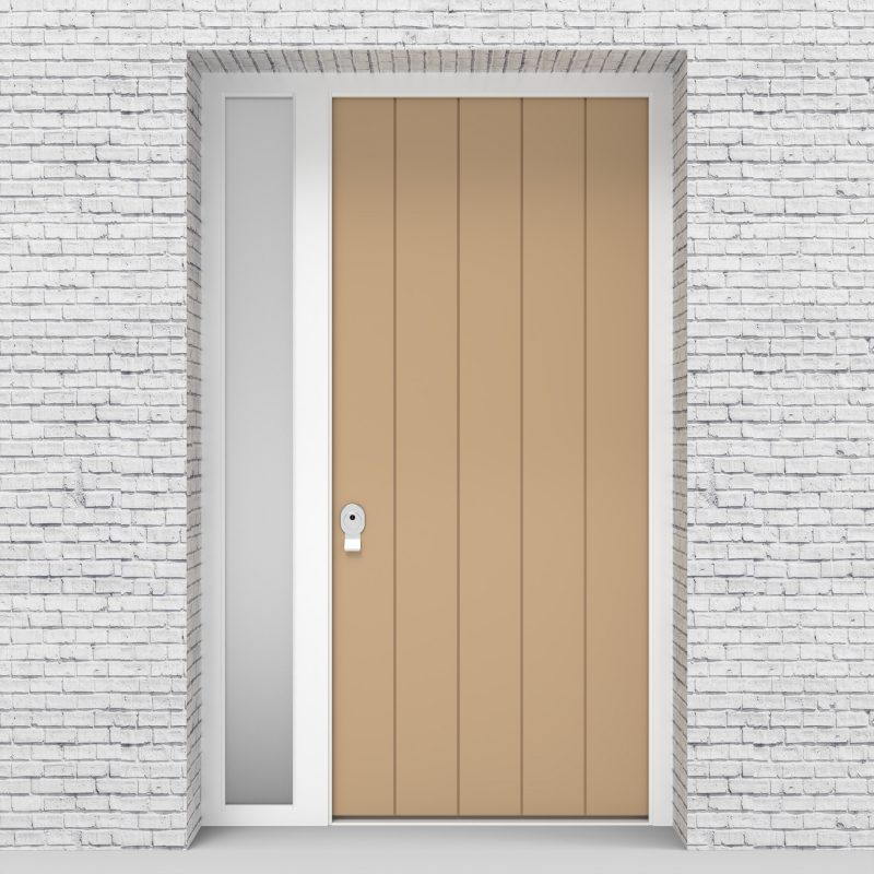 7.single Door With Left Side Panel 4 Vertical Lines Light Ivory (ral1015)