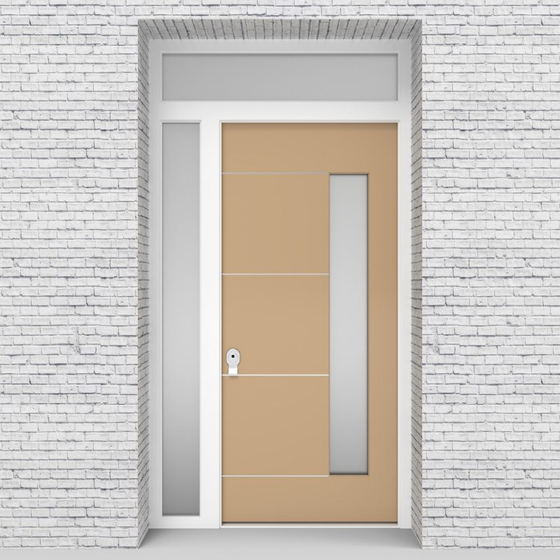 7.single Door With Left Side Panel And Transom 4 Aluminium Inlays With Hinge Side Glass Light Ivory (ral1015)