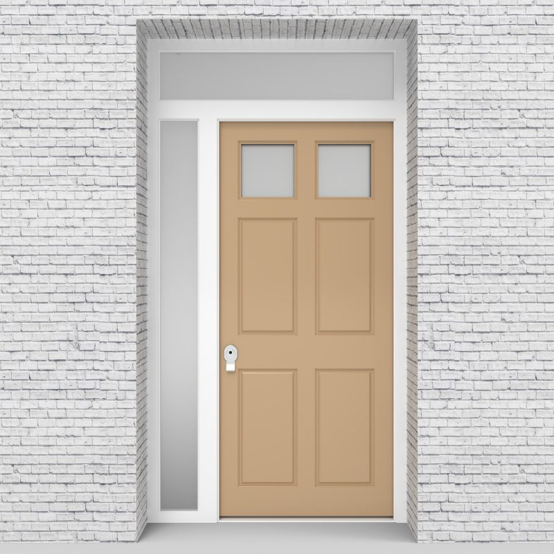 7.single Door With Left Side Panel And Transom Victorian 6 Panel With 2 Glass Panes Light Ivory (ral1015)