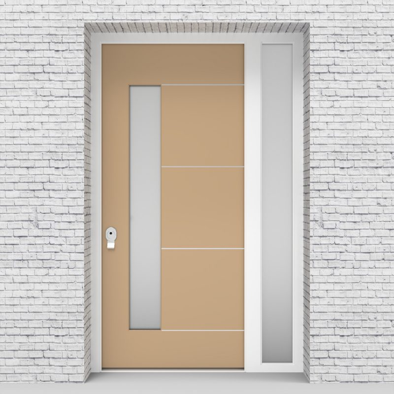 7.single Door With Right Side Panel 4 Aluminium Inlays With Lock Side Glass Light Ivory (ral1015)