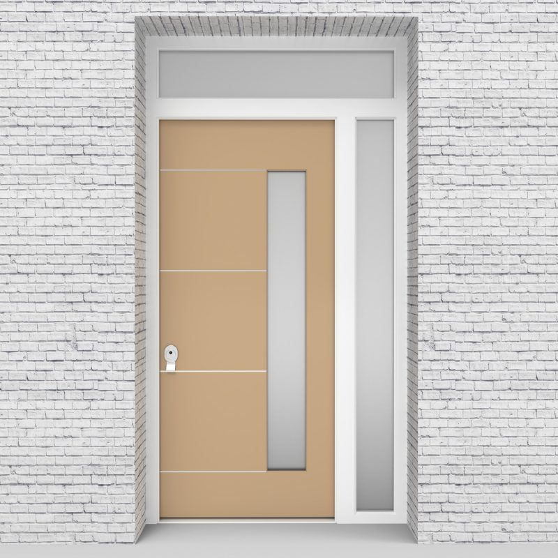 7.single Door With Right Side Panel And Transom 4 Aluminium Inlays With Hinge Side Glass Light Ivory (ral1015)
