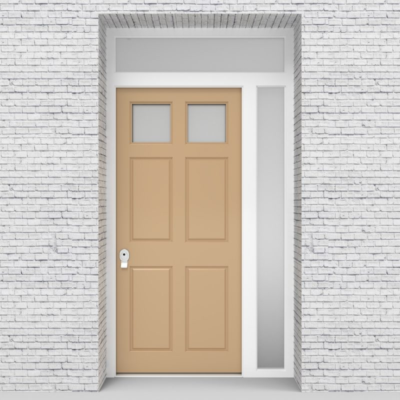 7.single Door With Right Side Panel And Transom Victorian 6 Panel With 2 Glass Panes Light Ivory (ral1015)