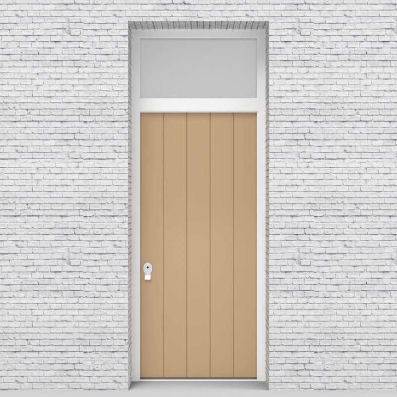 7.single Door With Transom 4 Vertical Lines Traffic White (ral9016)