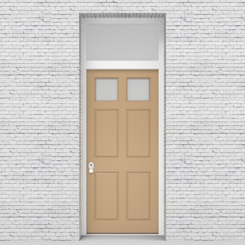 7.single Door With Transom Victorian 6 Panel With 2 Glass Panes Light Ivory (ral1015)
