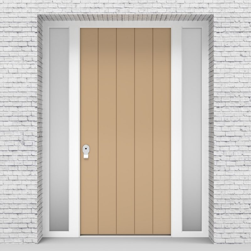 7.single Door With Two Side Panels 4 Vertical Lines Light Ivory (ral1015)