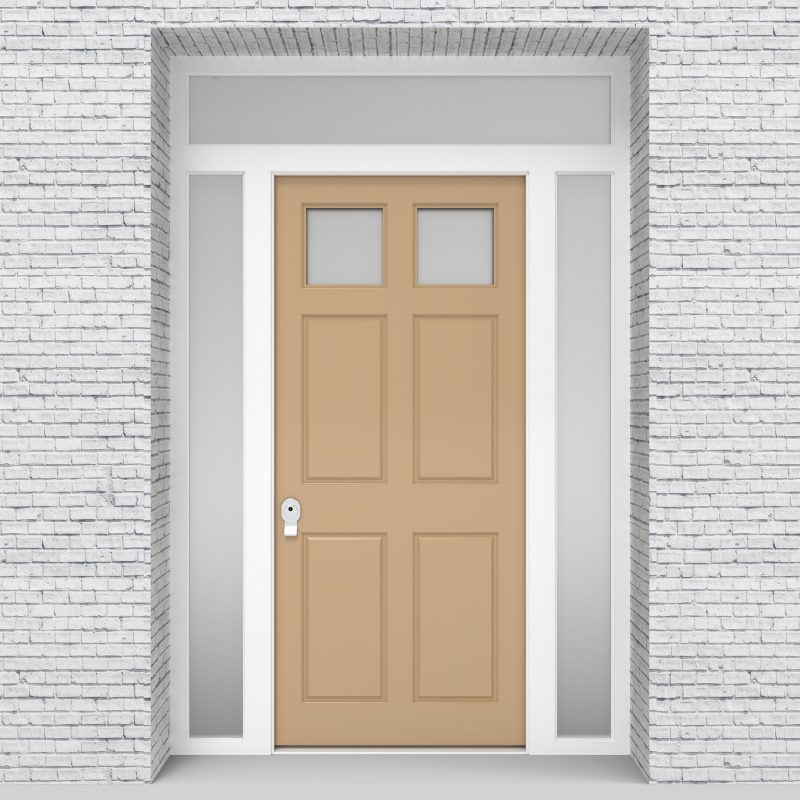 7.single Door With Two Side Panels And Transom Victorian 6 Panel With 2 Glass Panes Light Ivory (ral1015)