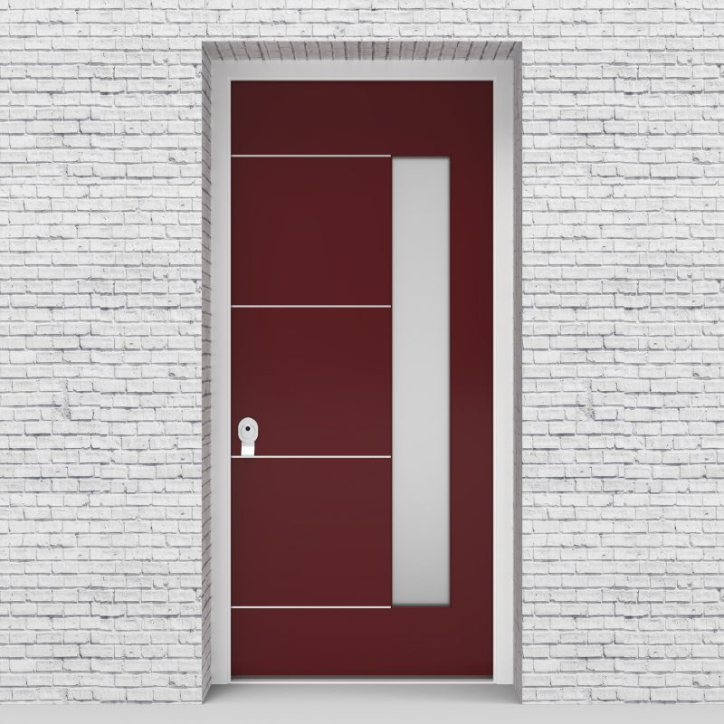 8.single Door 4 Aluminium Inlays With Hinge Side Glass Ruby Red (ral3003)