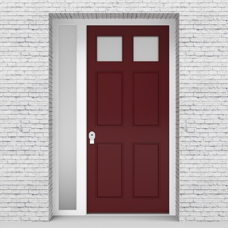 8.single Door With Left Side Panel Victorian 6 Panel With 2 Glass Panes Ruby Red (ral3003)