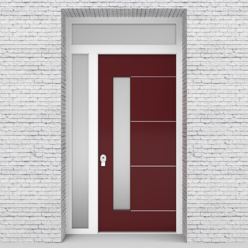 8.single Door With Left Side Panel And Transom 4 Aluminium Inlays With Lock Side Glass Ruby Red (ral3003)