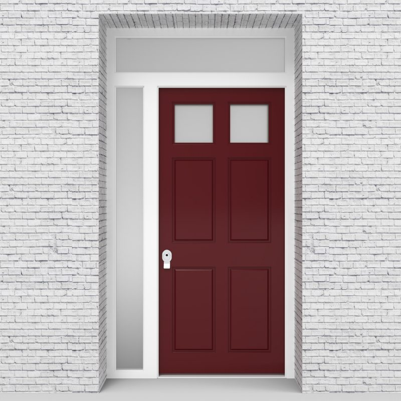 8.single Door With Left Side Panel And Transom Victorian 6 Panel With 2 Glass Panes Ruby Red (ral3003)
