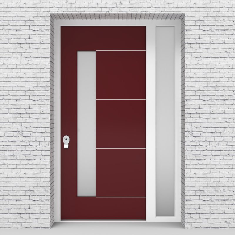 8.single Door With Right Side Panel 4 Aluminium Inlays With Lock Side Glass Ruby Red (ral3003)