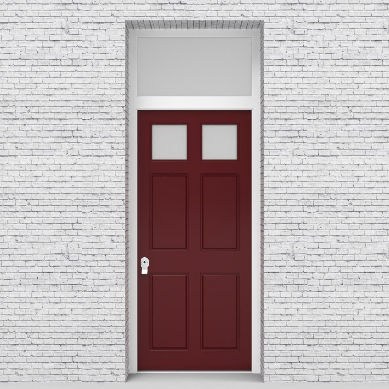 8.single Door With Transom Victorian 6 Panel With 2 Glass Panes Ruby Red (ral3003)