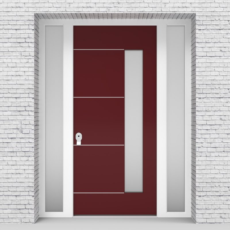 8.single Door With Two Side Panels 4 Aluminium Inlays With Hinge Side Glass Ruby Red (ral3003)
