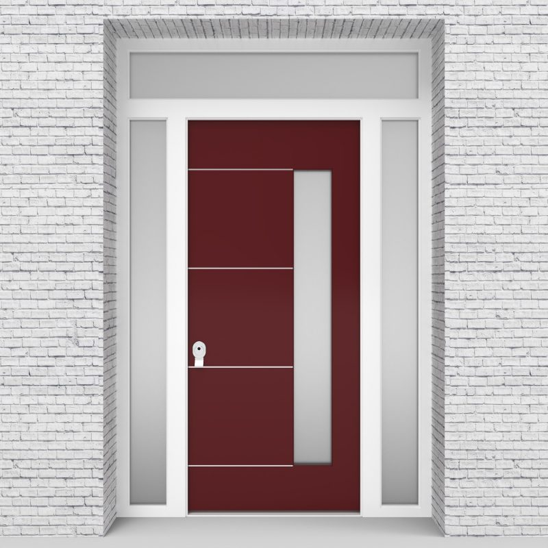 8.single Door With Two Side Panels And Transom 4 Aluminium Inlays With Hinge Side Glass Ruby Red (ral3003)