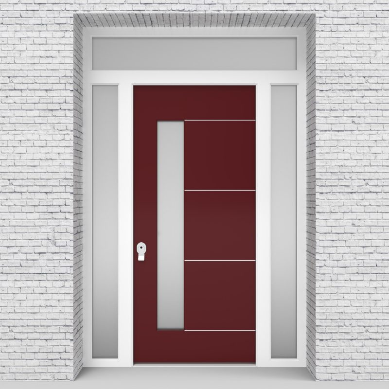 8.single Door With Two Side Panels And Transom 4 Aluminium Inlays With Lock Side Glass Ruby Red (ral3003)