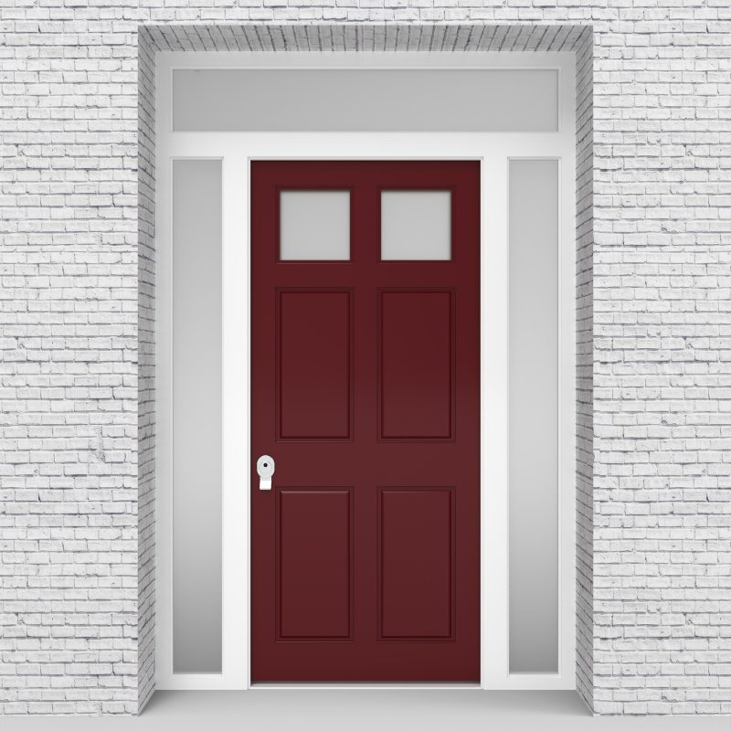 8.single Door With Two Side Panels And Transom Victorian 6 Panel With 2 Glass Panes Ruby Red (ral3003)