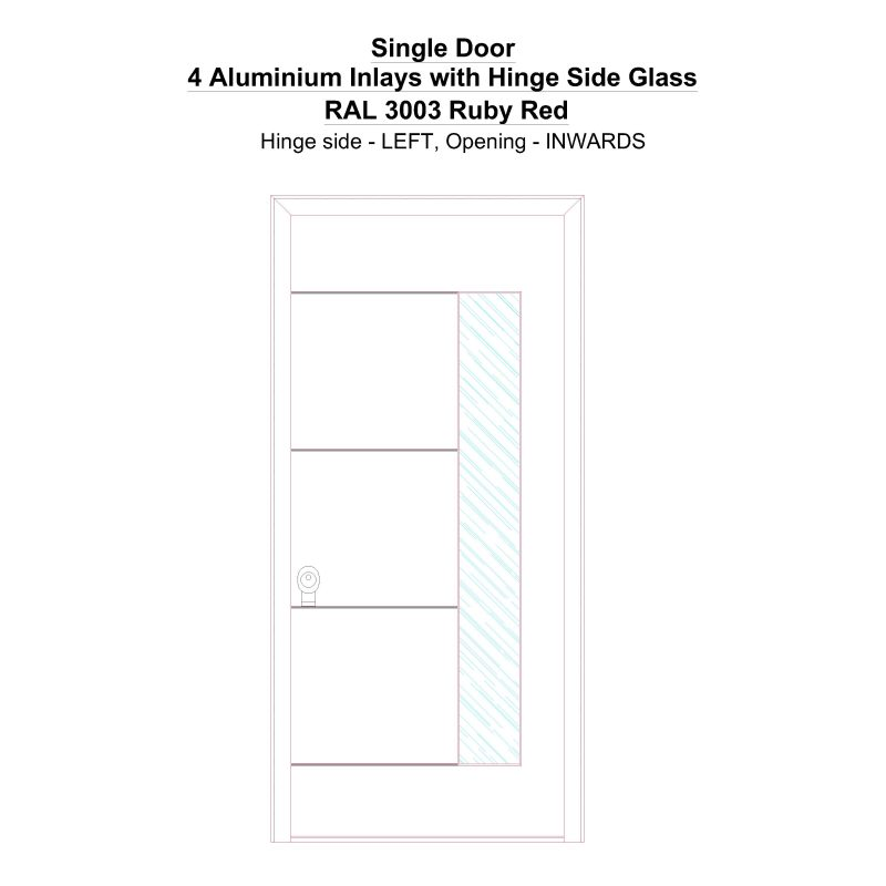 Sd 4 Aluminium Inlays With Hinge Side Glass Ral 3003 Ruby Red Security Door
