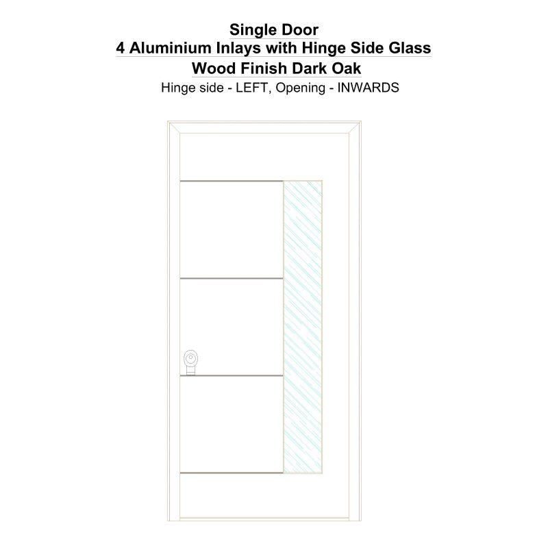 Sd 4 Aluminium Inlays With Hinge Side Glass Wood Finish Dark Oak Security Door