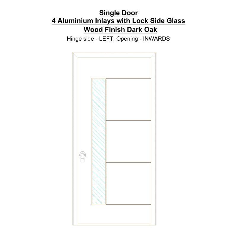 Sd 4 Aluminium Inlays With Lock Side Glass Wood Finish Dark Oak Security Door