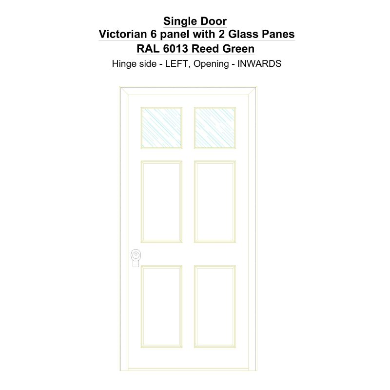 Sd Victorian 6 Panel With 2 Glass Panes Ral 6013 Reed Green Security Door