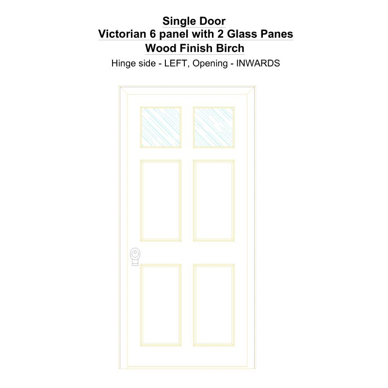 Sd Victorian 6 Panel With 2 Glass Panes Wood Finish Birch Security Door