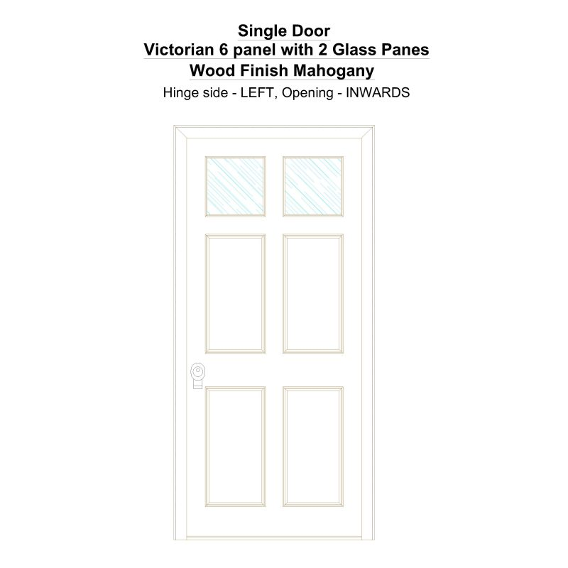 Sd Victorian 6 Panel With 2 Glass Panes Wood Finish Mahogany Security Door