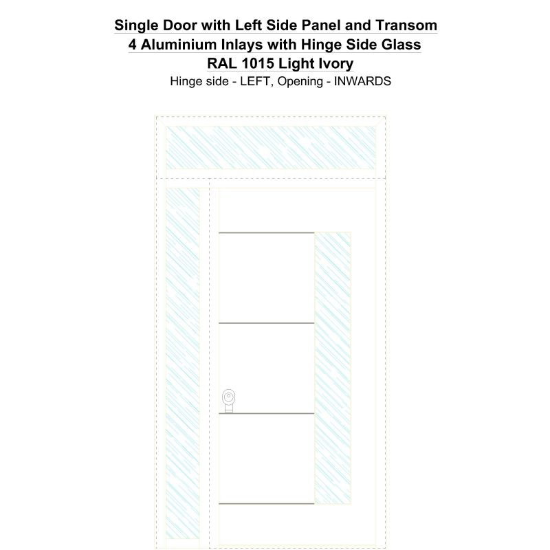 Sd1spt(left) 4 Aluminium Inlays With Hinge Side Glass Ral 1015 Light Ivory Security Door