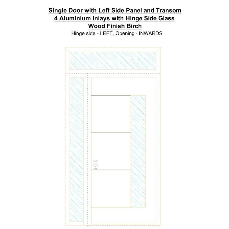 Sd1spt(left) 4 Aluminium Inlays With Hinge Side Glass Wood Finish Birch Security Door
