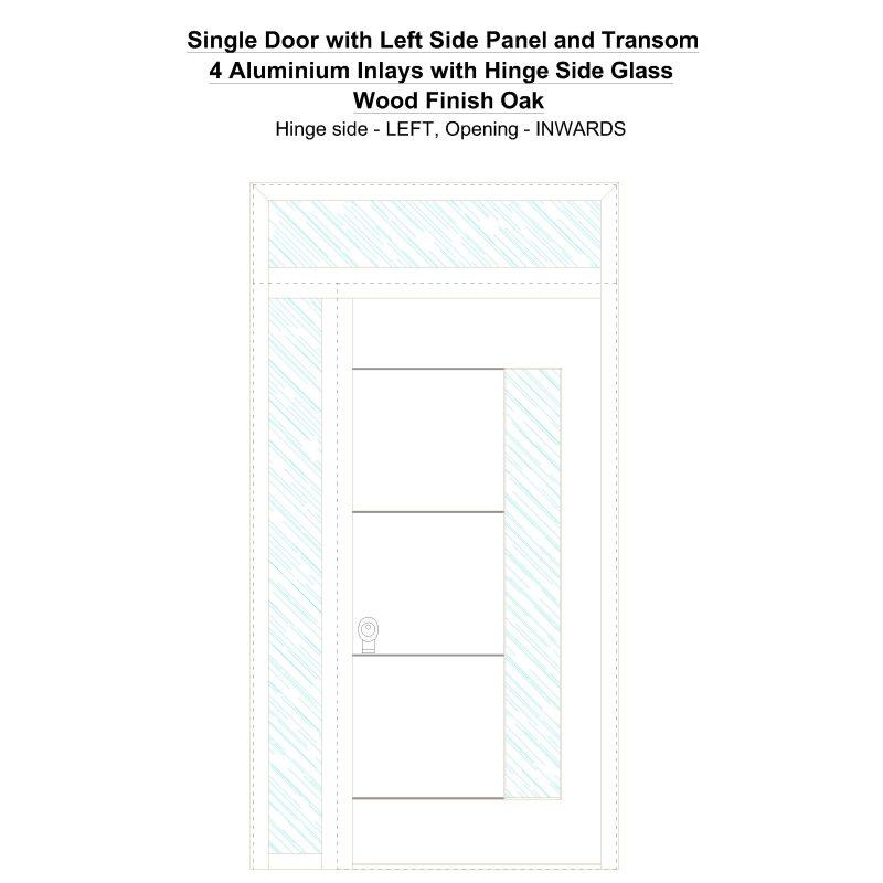 Sd1spt(left) 4 Aluminium Inlays With Hinge Side Glass Wood Finish Oak Security Door