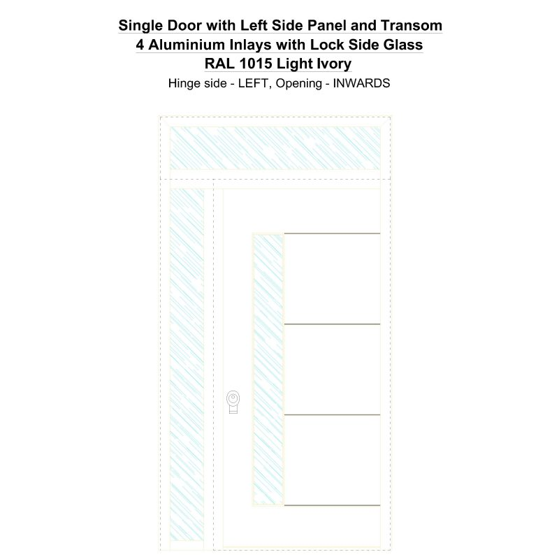 Sd1spt(left) 4 Aluminium Inlays With Lock Side Glass Ral 1015 Light Ivory Security Door