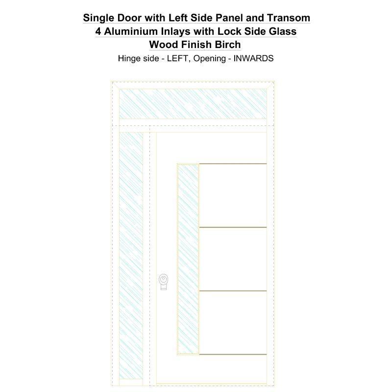 Sd1spt(left) 4 Aluminium Inlays With Lock Side Glass Wood Finish Birch Security Door
