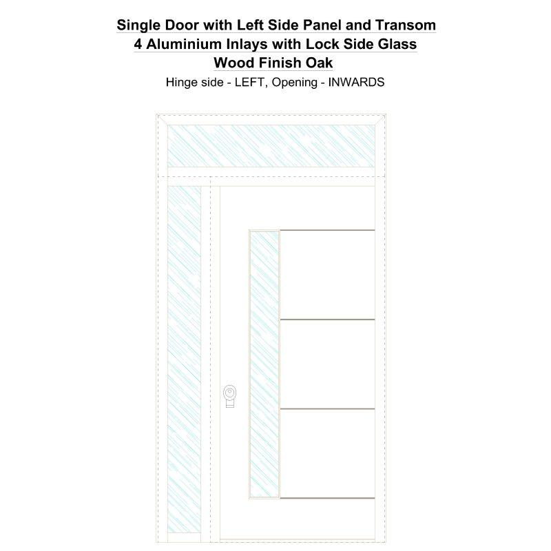 Sd1spt(left) 4 Aluminium Inlays With Lock Side Glass Wood Finish Oak Security Door