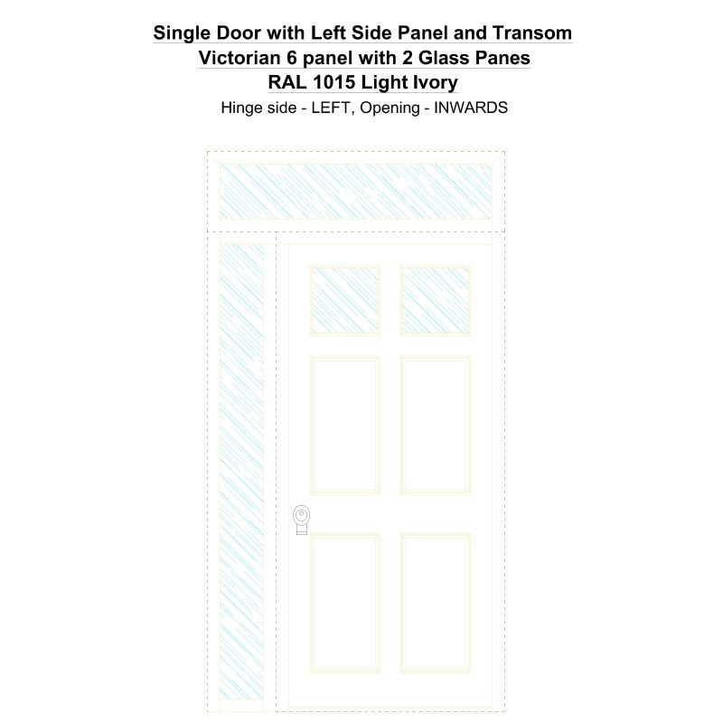 Sd1spt(left) Victorian 6 Panel With 2 Glass Panes Ral 1015 Light Ivory Security Door