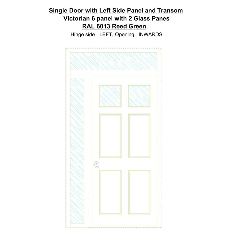 Sd1spt(left) Victorian 6 Panel With 2 Glass Panes Ral 6013 Reed Green Security Door