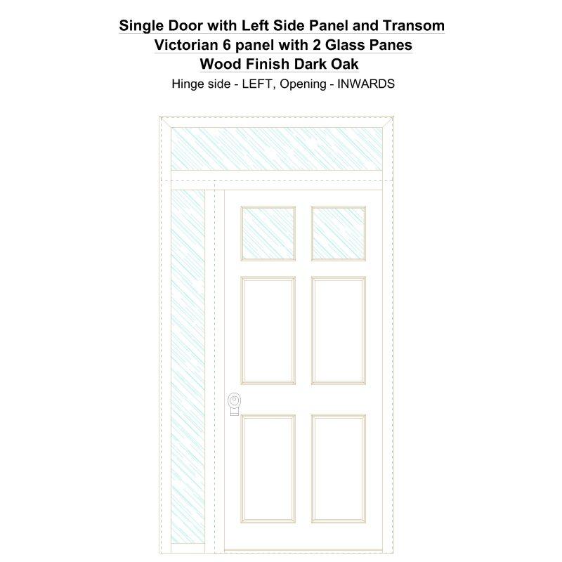 Sd1spt(left) Victorian 6 Panel With 2 Glass Panes Wood Finish Dark Oak Security Door