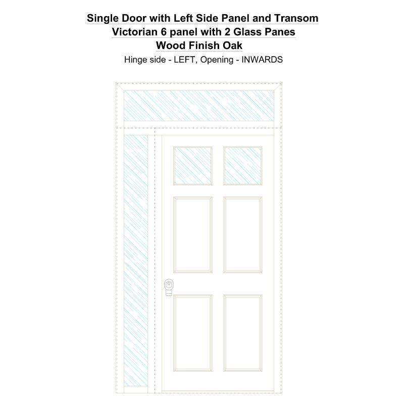 Sd1spt(left) Victorian 6 Panel With 2 Glass Panes Wood Finish Oak Security Door